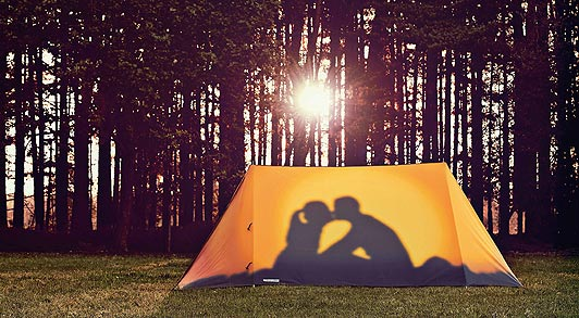 Couple Tent Kissing